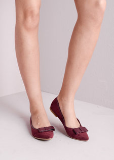 Suede Pointed Bow Slip On Pump Burgundy