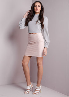 Textured Mini Skirt Nude