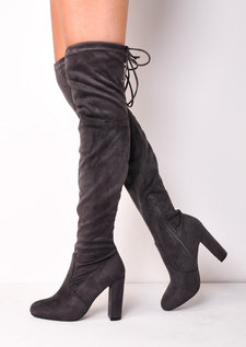 Thigh High Over the Knee Tie Back Faux Suede Heeled Boots Grey