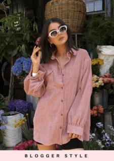 Oversized Corduroy Button Through Shirt Pink
