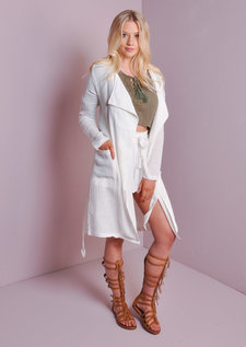 Waterfall Light Belted Blazer White