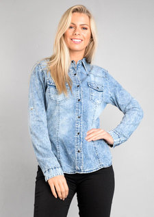 Acid Wash Denim Shirt Light Blue