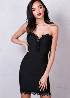 Bandage Lace Bust and Hem Detail Bodycon Dress Black