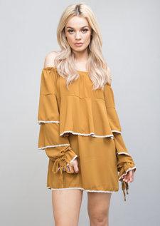 Bardot Frill Embroidered Long Sleeve Top Dress Mustard Yellow