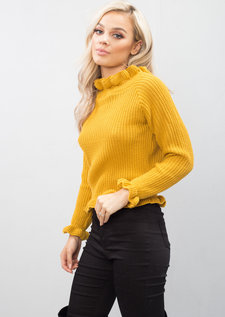 Bardot Knitted Frill Detail Jumper Mustard Yellow