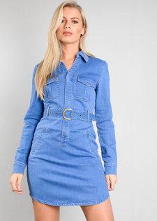 Belted Denim Shirt Dress Blue