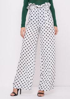 Black Polka Dot Tie Waist Paperbag Trousers White