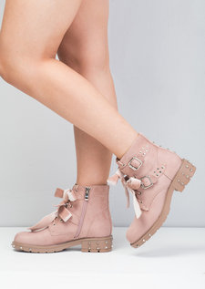 Bow Detailed Lace Up Studded Biker Ankle Boots Pink