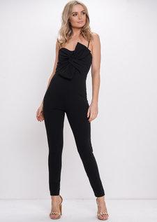 Bow Front Jumpsuit Black