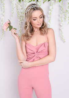 Bow Front Jumpsuit Pink