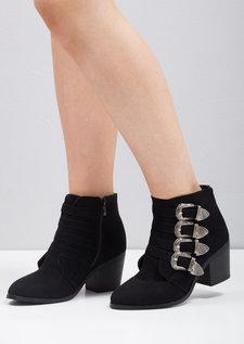 Buckle Western Block Heel Ankle Boot Black