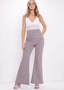 Button Front Flared Trousers Grey