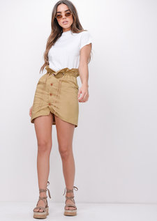 Button Front PaperbagMini Skirt Beige