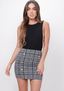 Button Front Tweed Mini Skirt Black
