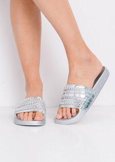 Chain Detail Metallic Sliders Silver