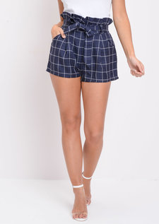 Check Paperbag Waist Shorts Blue