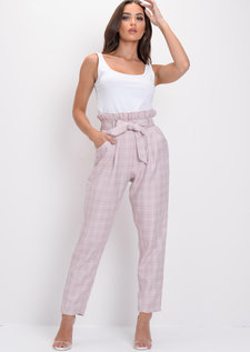 Checked Paperbag High Waisted Tailored Trousers Pink