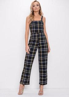 Check Print Wide Leg Jumpsuit Multi