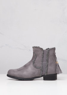 Chelsea Ankle Boots With Tassel Suede Grey