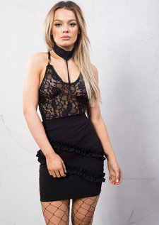Choker Neck Lace Bodysuit Black