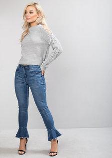 Cold Shoulder Lace Up Knit Jumper Grey