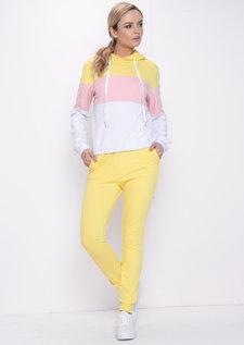 Colour Block Stripe Hooded Loungewear Set Yellow