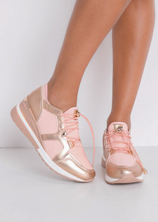 Contrast Wedge Chunky Trainers Pink