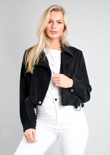 Corduroy Cropped Biker Jacket Black