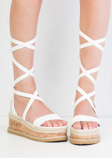 Leather Lace Up Braided Cork Wedge Flat Espadrille Sandals White