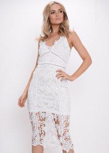 Crochet Bodycon Dress White