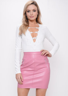 Crochet Lace Plunge Long Sleeve Bodysuit White