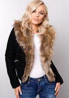 Detachable Faux Fur Collar Crop Biker Jacket Black