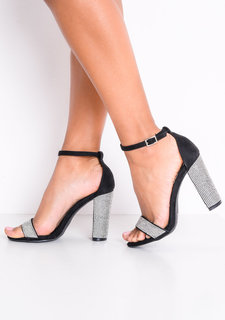 Diamante Embellished Faux Suede Strappy Block Heeled Sandals Black