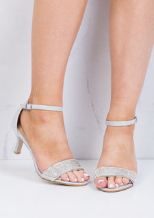 Diamante Embellished Heeled Sandals Silver