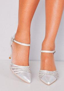 Pointed Diamante Mesh Embellished Kitten Court Heels Silver