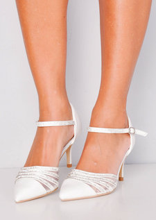 Diamante Mesh Embellished Kitten Court Heels White