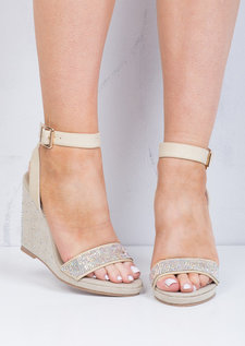 Diamante Embellished Wedge Sandals Beige