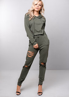 Distressed Loungewear Co Ord Set Khaki Green