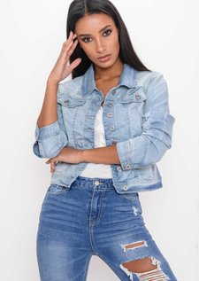 Distressed Ripped Denim Crop Jacket Light Blue