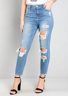 Extreme Rip Denim Girlfriend Jeans Blue