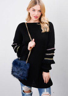 Faux Fur Chain Clutch Bag Navy Blue