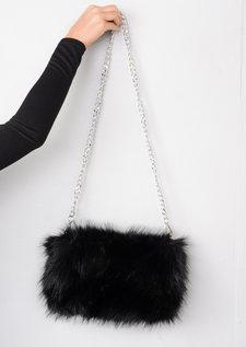 Faux Fur Clutch Bag Black