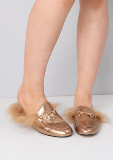 Faux Fur Flat Slip On Mule Loafers Gold