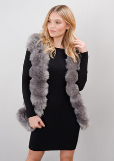 Faux Fur Panel Gilet Grey