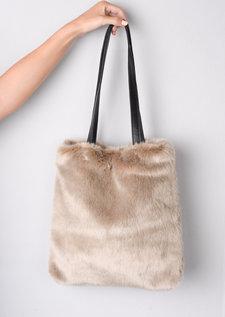 Faux Fur Shopper Tote Bag Beige