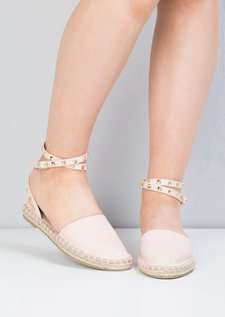 Faux Leather Studded Espadrille Flats Pink