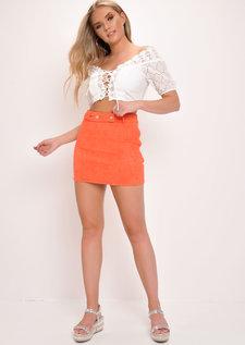 Faux Suede A-Line Mini Skirt Orange
