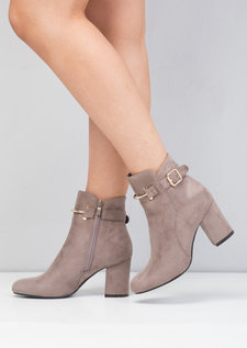 Faux Suede Buckle Ring Block Heel Ankle Boots Grey