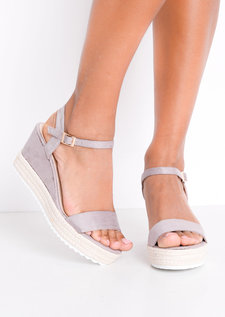 Faux Suede Platform Braided Cork Wedge Espadrille Sandals Lilac Purple