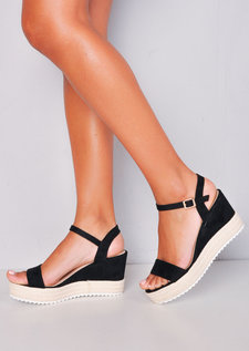 Faux Suede Platform Braided Cork Wedge Espadrille Sandals Black
